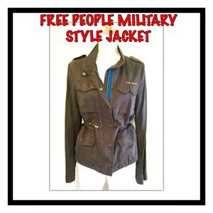 Free People Military Style Gray Jacket